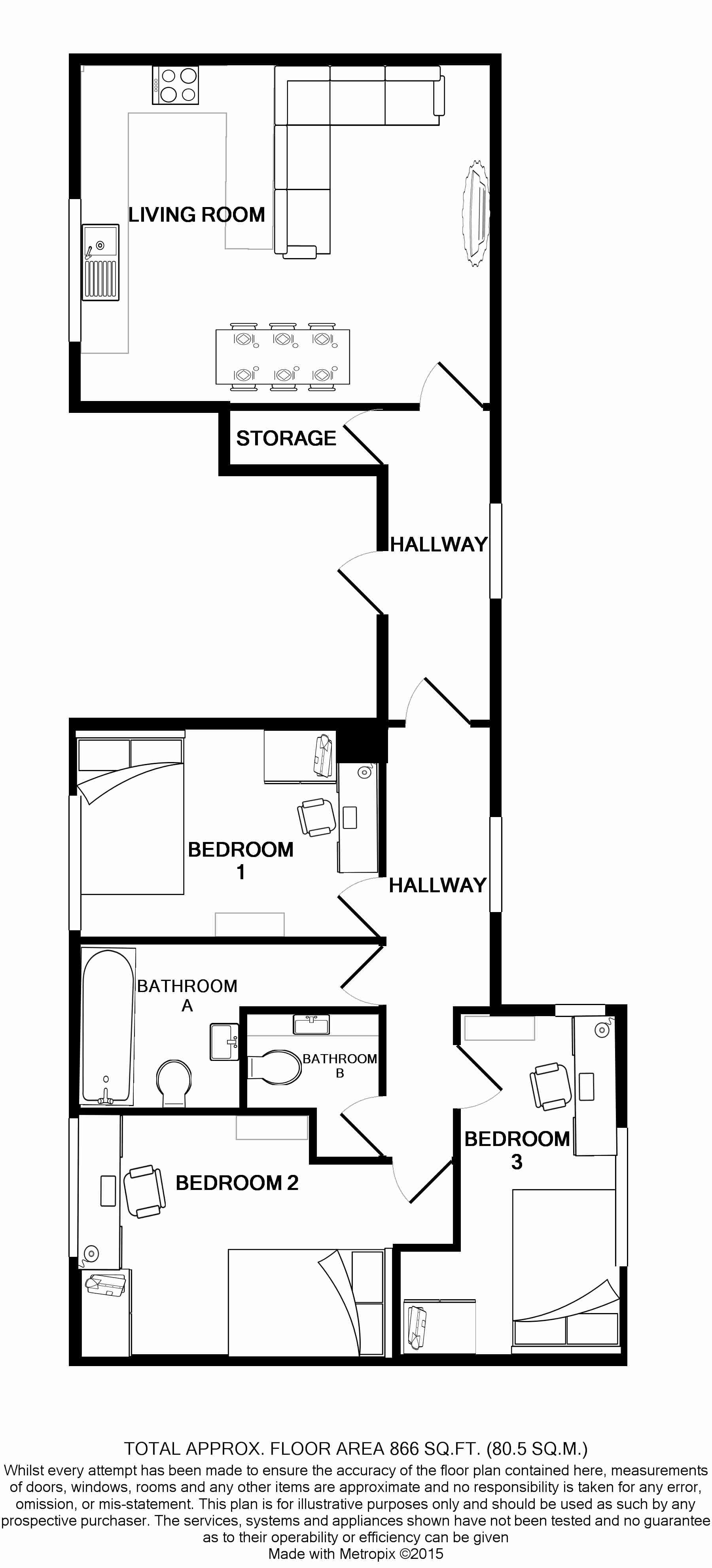 Flat B Park View, Nottingham Student House, Floorplans
