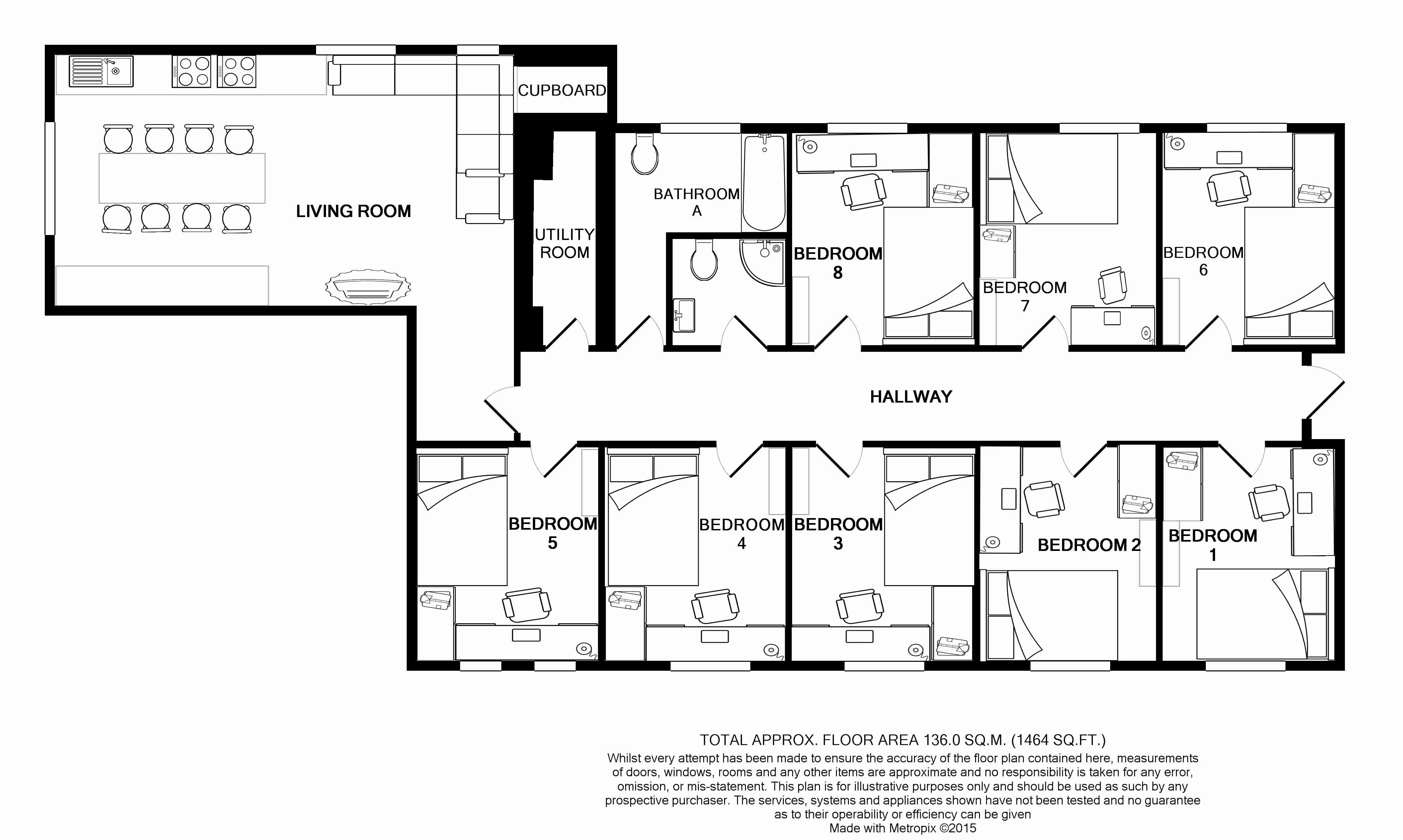 Flat F, Park View, Nottingham Student House, Floorplans