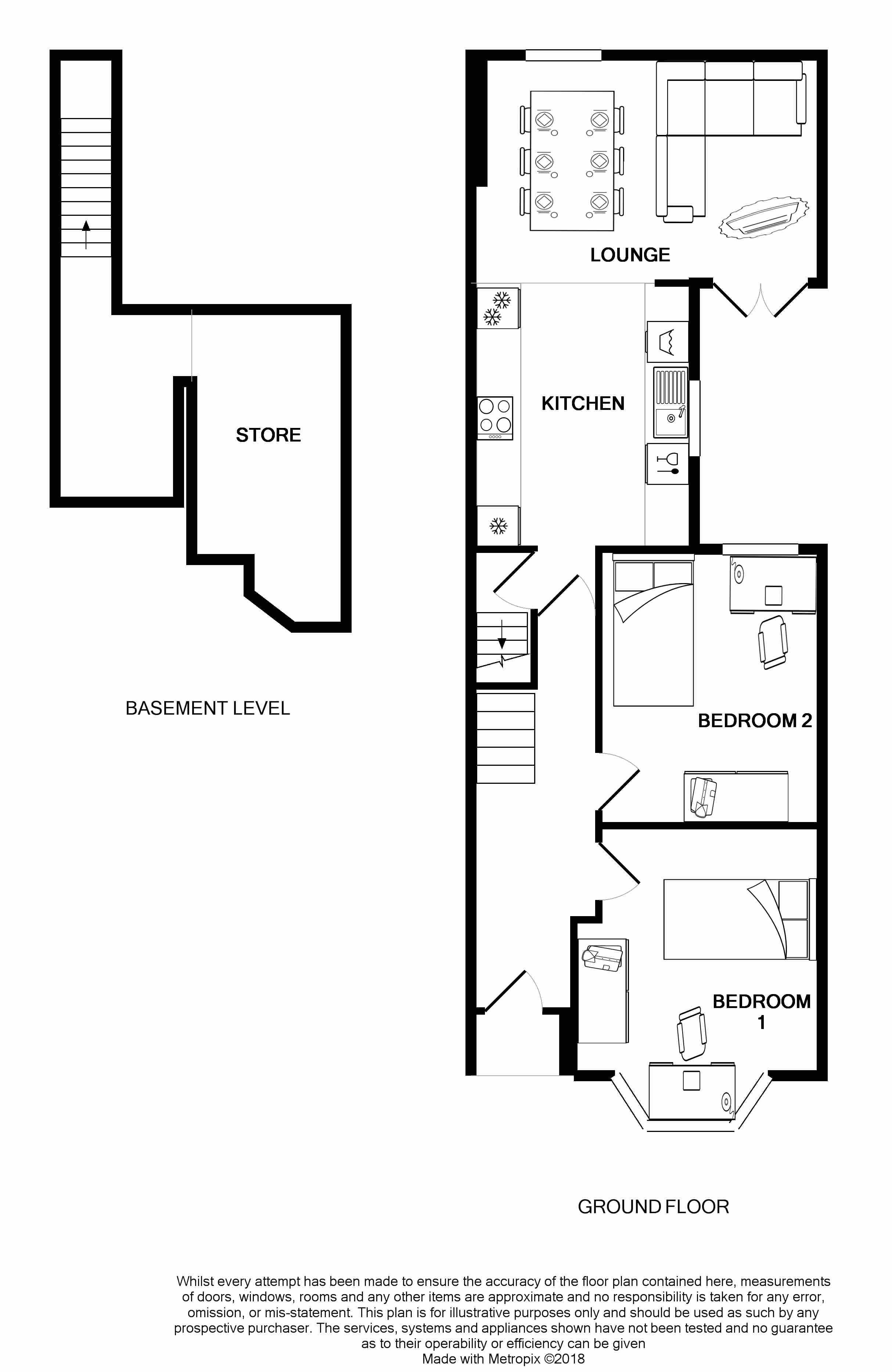 Ground and basement floor plan