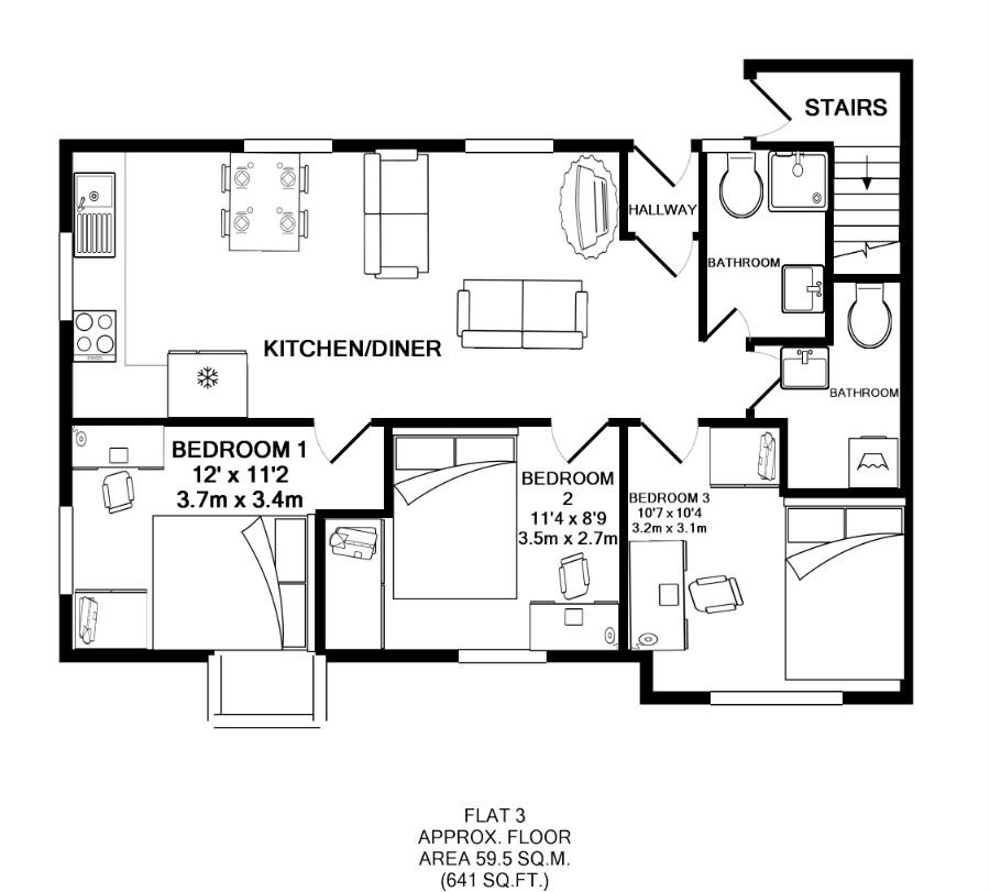 Flat 3, Victoria Court Mews, Leeds plan
