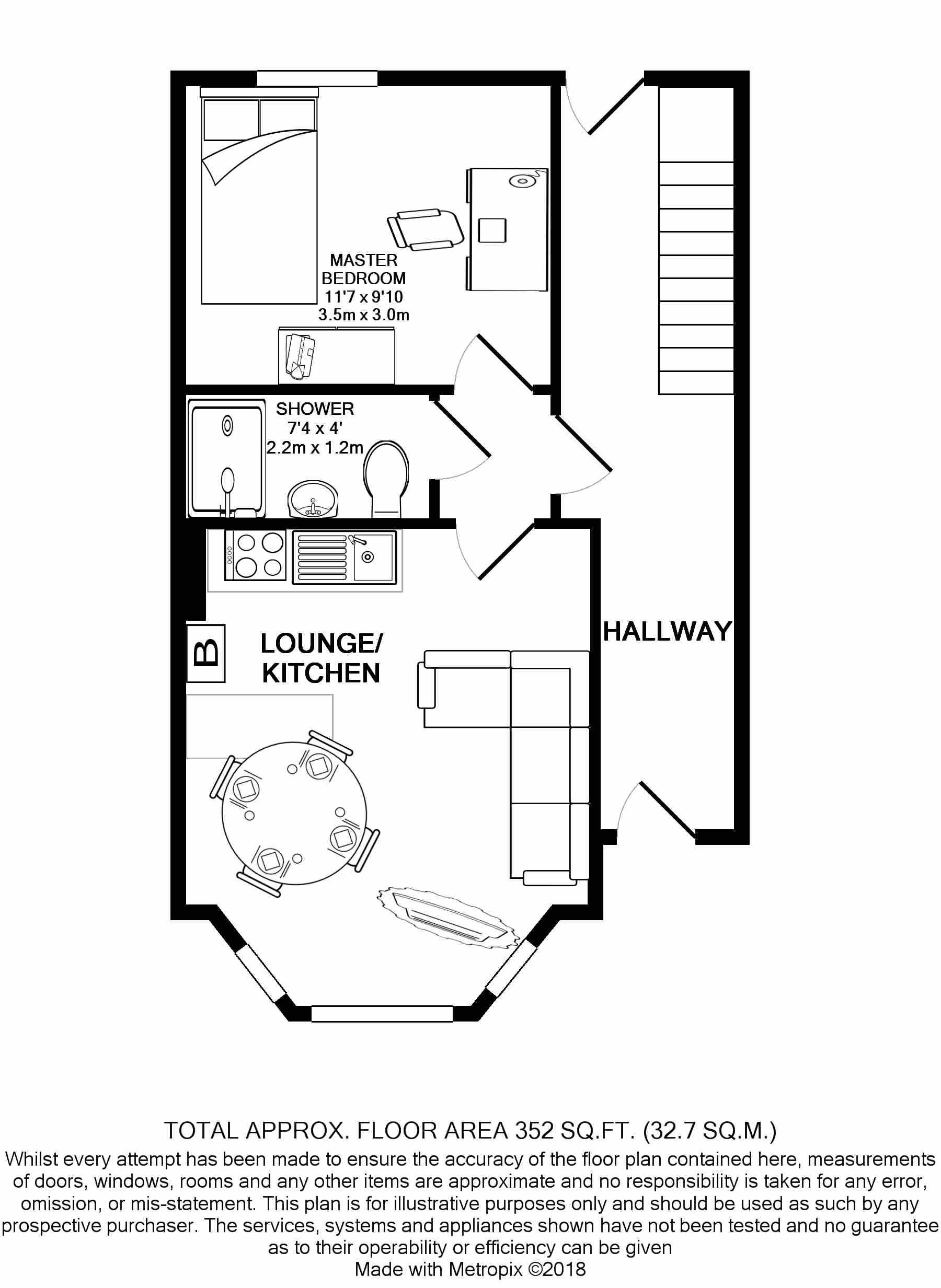 Flat 1, 28 Glynrhondda -Floorplan